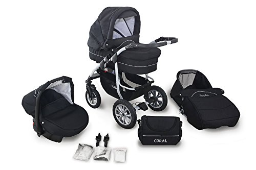 2 schwarz clamaro coral 2017 kinderwagen 3 in 1 kombi. Black Bedroom Furniture Sets. Home Design Ideas