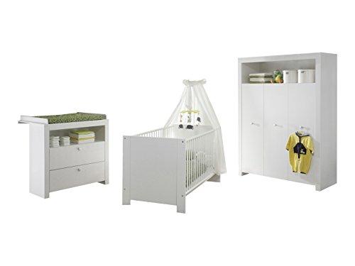trendteam bzo60501 babyzimmer komplett set 3 tlg weiss. Black Bedroom Furniture Sets. Home Design Ideas