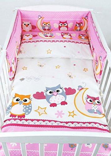 babylux nestchen bettumrandung mit kopfschutz 210 x 30 cm 56 eule rosa sch ne babysachen. Black Bedroom Furniture Sets. Home Design Ideas