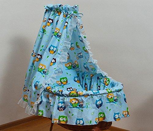 bettw sche set f r moseskorb babykorb stubenwagen mit baumwolle betthimmel muster eule blau. Black Bedroom Furniture Sets. Home Design Ideas