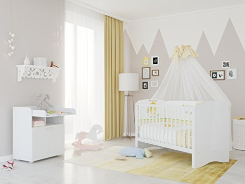 polini kids kinderzimmer set simple kombi kinderbett mit wickelkommode in wei sch ne babysachen. Black Bedroom Furniture Sets. Home Design Ideas
