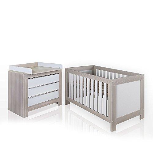 felix babyzimmer wickelkommode babybett kleiderschrank wei oder akaziengrau akaziengrau bett. Black Bedroom Furniture Sets. Home Design Ideas