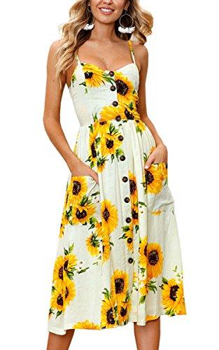 Damen Sommerkleid URSING Kurzarm V-Ausschnitt Ananas ...