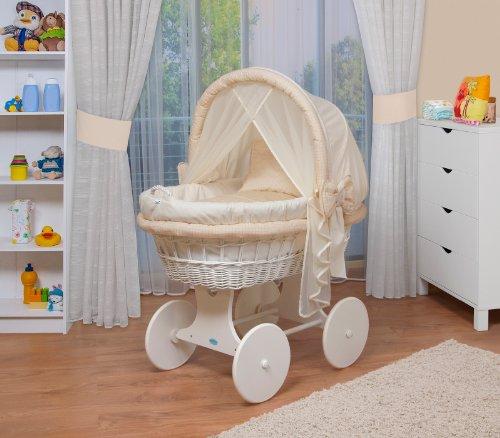WALDIN Baby Stubenwagen Set Mit AusstattungXXLBollerwagenkomplett44 Modelle WahlbarGestell Rader Weiss LackiertStoffe Gelb Beige Kariert